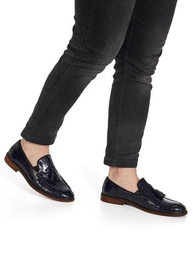 Muggo Hakiki Deri Ayakkabı Lacivert